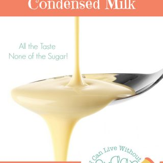 Low carb, sugar-free condensed milk on spoon