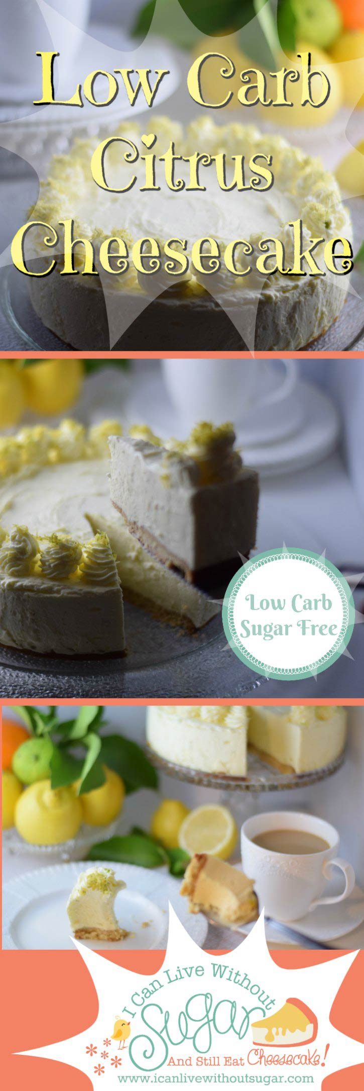 This low carb sugar free citrus cheesecake tastes as good as it looks. Creamy, rich, sweet and tangy. Sugar free dessert perfection. This one's a winner!