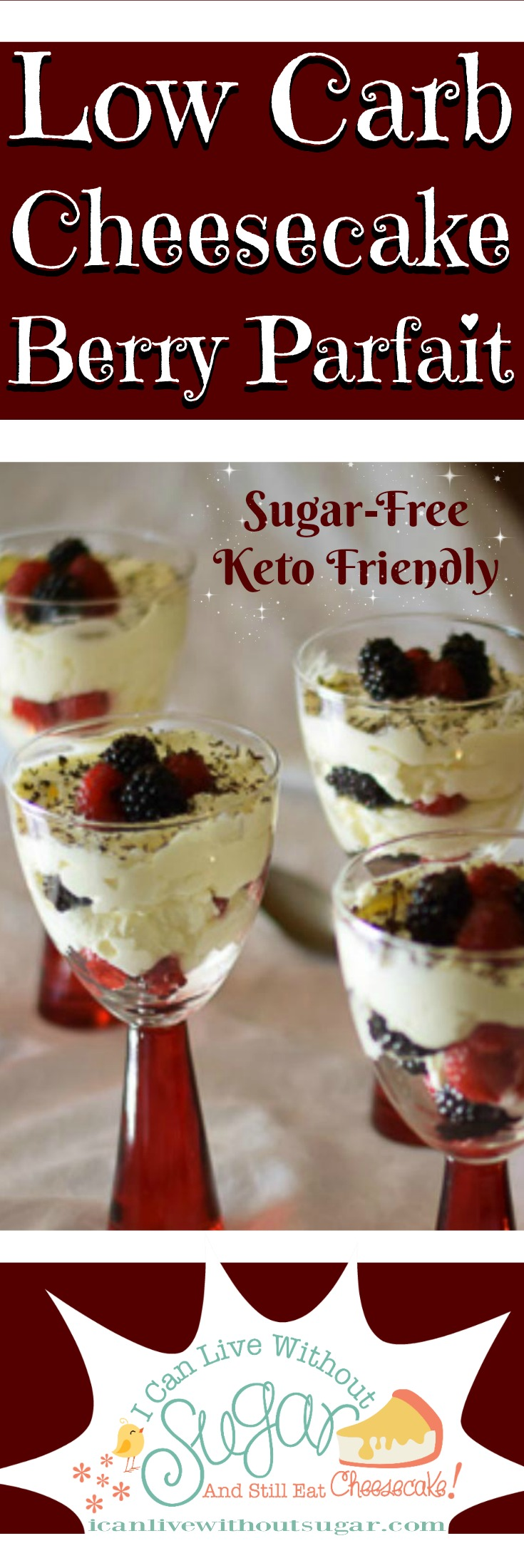 Low carb cheesecake berry parfait. It tastes so good and is easy to make! This low carb, sugar-free, keto dessert is the healthier way to enjoy a treat.