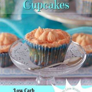 Feature image, orange almond cupcakes, one on plate with spoon