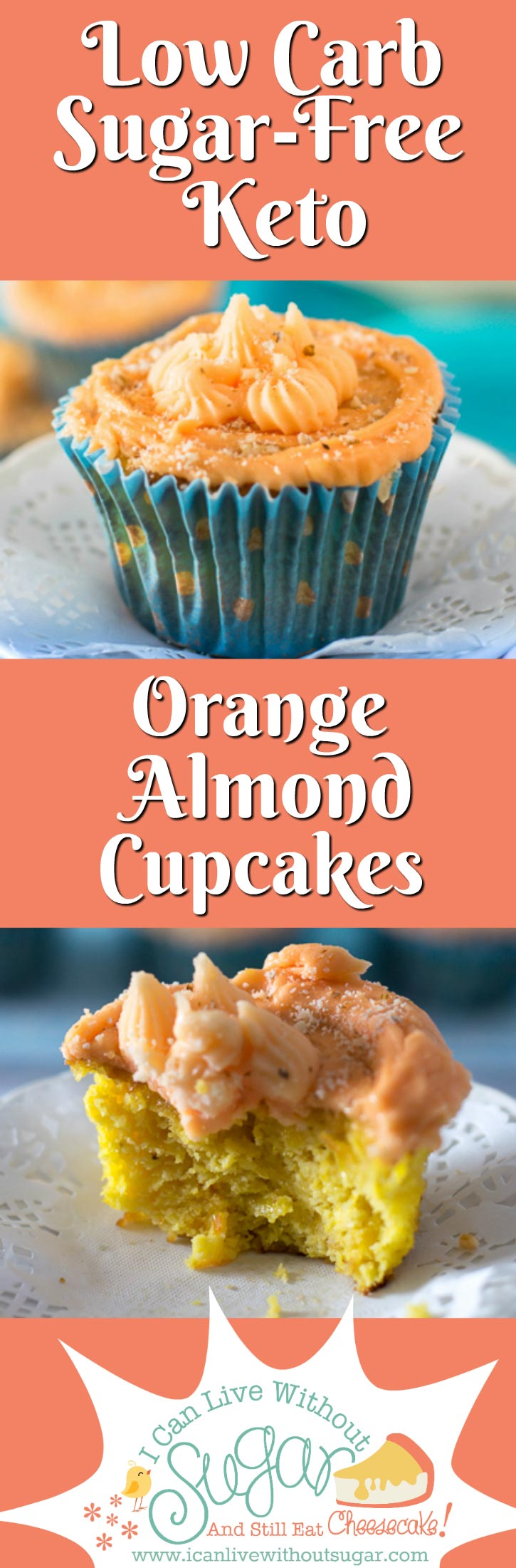 These cute little orange almond cupcakes taste as good as they look. The recipe is low carb, sugar-free, keto, and grain free too. Just the thing for a healthy treat. They also keep really well, up to a week in the fridge! Perfect for office parties and family get-togethers. Enjoy!