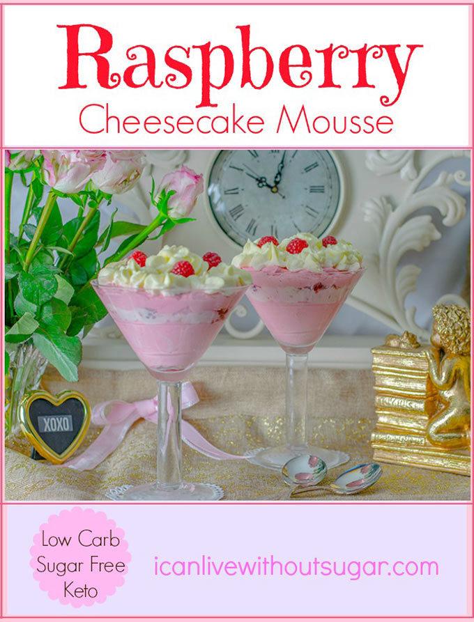 Raspberry Cheesecake Mousse low carb sugar free keto