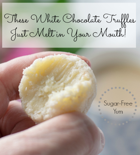 Low Carb Sugar-Free White Chocolate Truffles with a bite taken out - 450x498